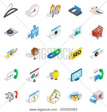 Trifle icons set. Isometric set of 25 trifle vector icons for web isolated on white background