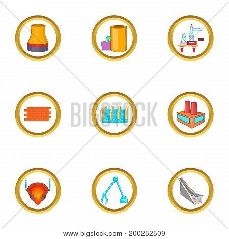 Factory icons set. Cartoon illustration of 9 factory vector icons for web design