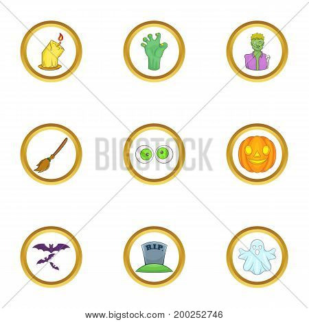 Halloween party icon set. Cartoon style set of 9 halloween party vector icons for web isolated on white background