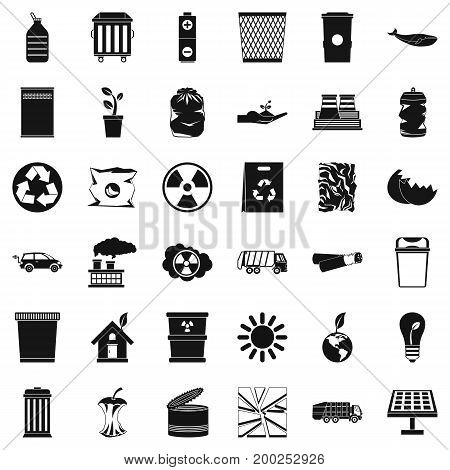 Ecology in earth icons set. Simple style of 36 ecology in earth vector icons for web isolated on white background