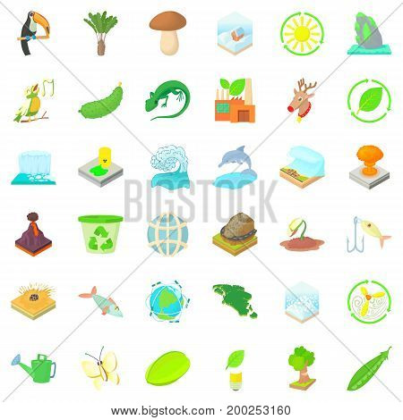 Ecology in earth icons set. Cartoon style of 36 ecology in earth vector icons for web isolated on white background