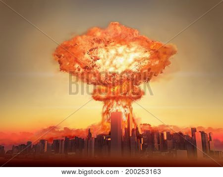 3d illustration of a nuclear bomb exploding in a city