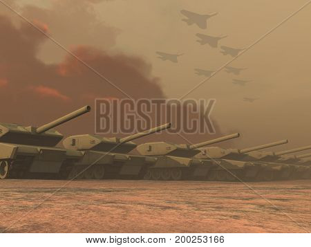 3d illustration of batlle tanks and planes
