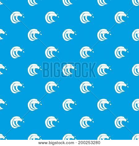 Wave of sea tide pattern repeat seamless in blue color for any design. Vector geometric illustration