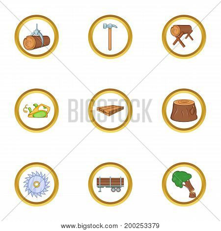 Woodcutter icon set. Cartoon style set of 9 woodcutter vector icons for web isolated on white background