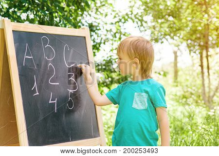 Cute Little Boy Writing Letters And Numbers At Blackboard In The Garden.