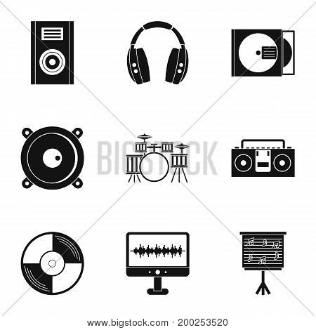 Music equipment icon set. Simple style set of 9 music equipment vector icons for web isolated on white background