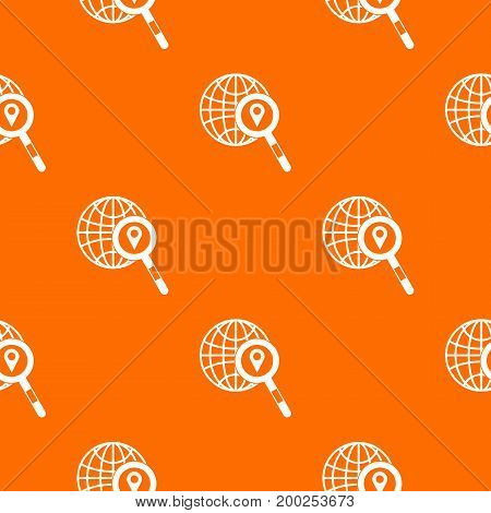 Globe, map pointer and magnifying glass pattern repeat seamless in orange color for any design. Vector geometric illustration