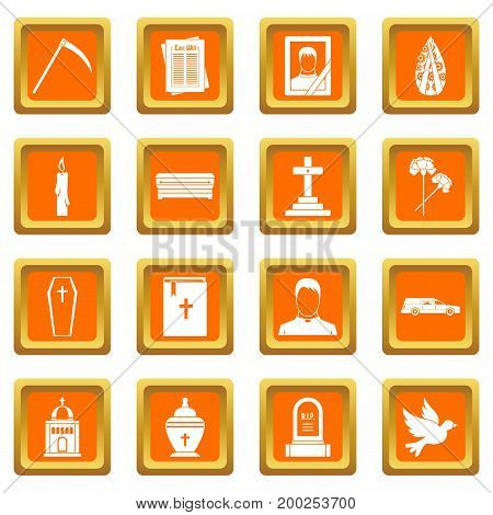 Funeral icons set in orange color isolated vector illustration for web and any design