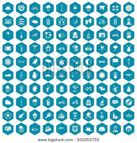 100 bicycle icons set in sapphirine hexagon isolated vector illustration