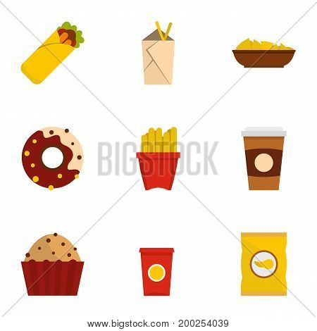 Tasty fast food icon set. Flat style set of 9 tasty fast food vector icons for web isolated on white background