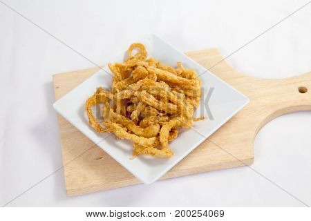 Crispy crisp deep fried fries breaded with corn flake crumbs flour