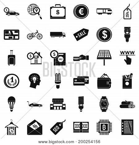 Business economy icons set. Simple style of 36 economy vector icons for web isolated on white background
