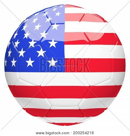 Soccer football with United State of America flag 3d rendering isolated on white background