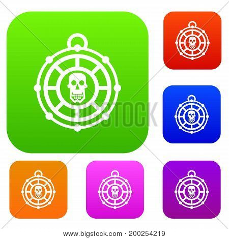 Pirate amulet set icon in different colors isolated vector illustration. Premium collection