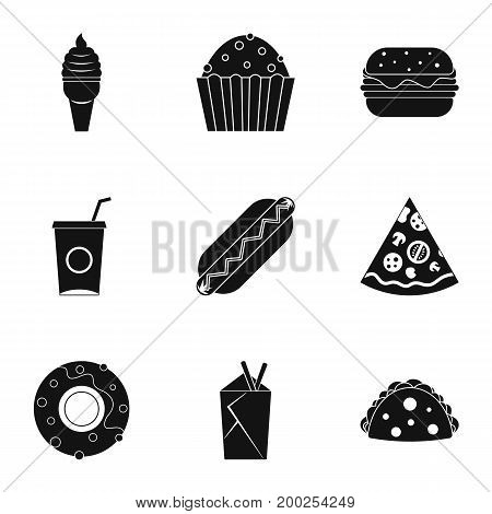 Snacks icon set. Simple style set of 9 snacks vector icons for web isolated on white background