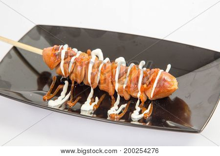 Grilled sausage with mayo mayonnaise and tomato chili sauce