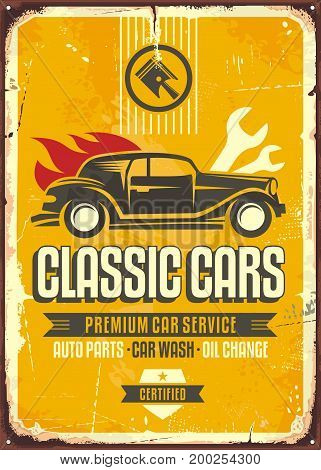 Vintage cars old worn sign. Classic cars retro poster with old vehicle on yellow background.