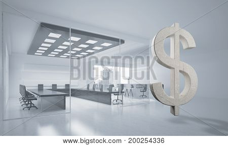 Stone dollar symbol in modern office interior as currency sign. 3d rendering