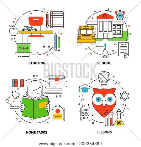 Linear education icons set with tools for studying process school home tasks subjects elements isolated vector illustration