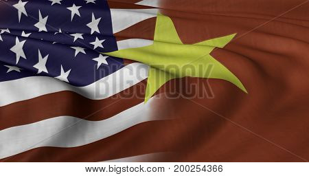3D illustration of USA and Vietnamese flag fluttering in light breeze.
