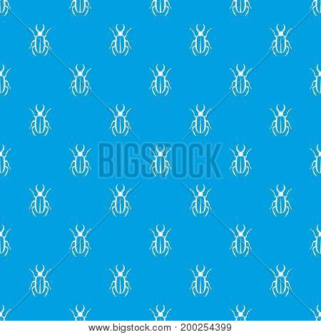 Lucanus cervus pattern repeat seamless in blue color for any design. Vector geometric illustration