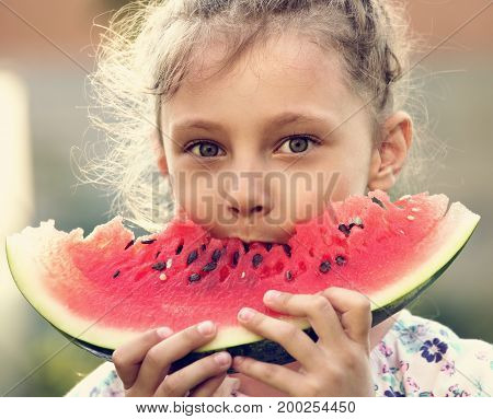 Beautiful Kid Girl Eating Big Red Tasty Watermelon With Cute Look On Summer Day Green Glass Backgrou