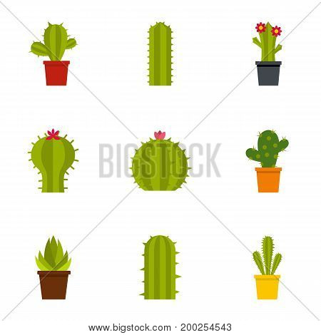 Desert cactus icon set. Flat style set of 9 desert cactus vector icons for web isolated on white background