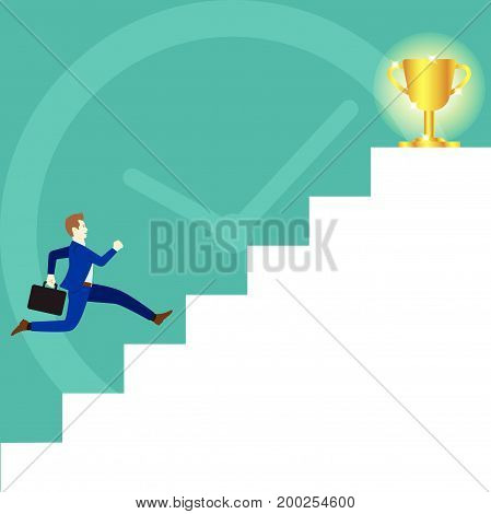 Business Concept As A Businessman Is Running On White Stairs To A Glitter Gold Trophy On Top And A Big Clock As Background. It Means Trying To Achieve The Ultimate Goal By Competing With Time.