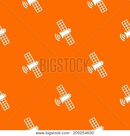 Space satellite pattern repeat seamless in orange color for any design. Vector geometric illustration