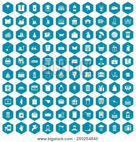 100 box icons set in sapphirine hexagon isolated vector illustration