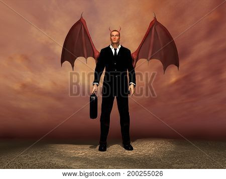 3d illustration of a businessman as a devil