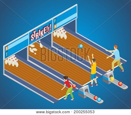 Isometric bowling game concept with players throwing balls into pins on different lanes vector illustration