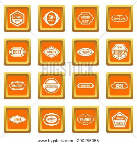 Golden labels icons set in orange color isolated vector illustration for web and any design
