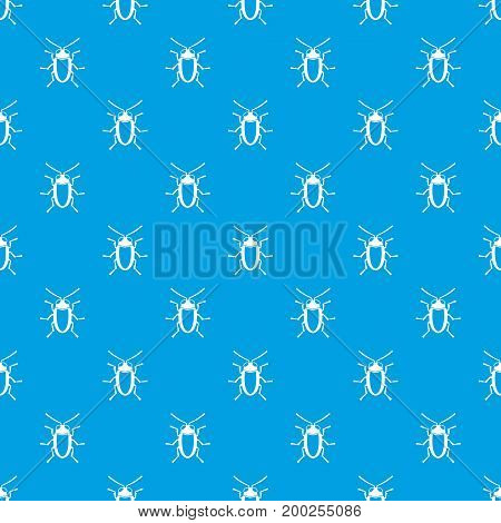Longhorn beetle grammoptera pattern repeat seamless in blue color for any design. Vector geometric illustration