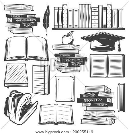 Vintage education elements set with school books textbooks bag apple graduation cap feather isolated vector illustration