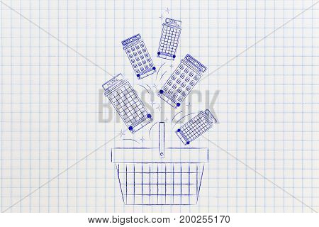 Shopping Basket With Group Of Hotels Falling In