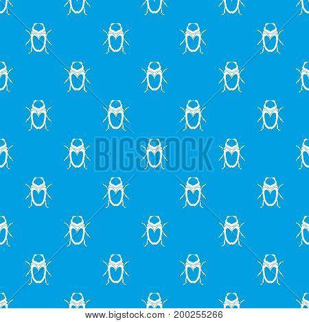 Scarab beetle pattern repeat seamless in blue color for any design. Vector geometric illustration
