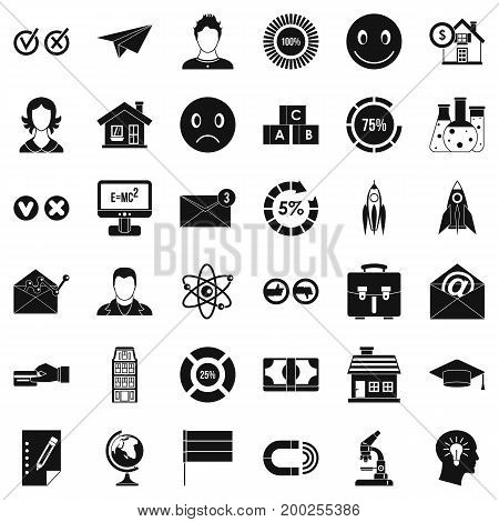 Computer learning icons set. Simple style of 36 computer learning vector icons for web isolated on white background