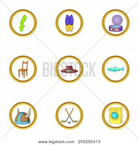 Nordic country icons set. Cartoon illustration of 9 nordic country vector icons for web design