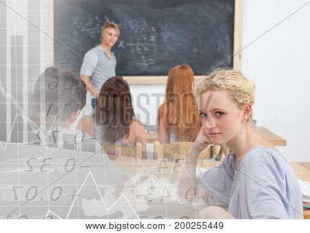 Digital composite of Students in class