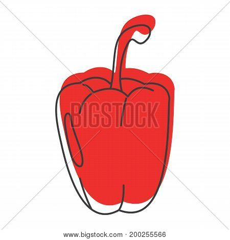 Red paprika doodle icon vector illustration for design and web isolated on white background. Paprika vector object for labels  and advertising