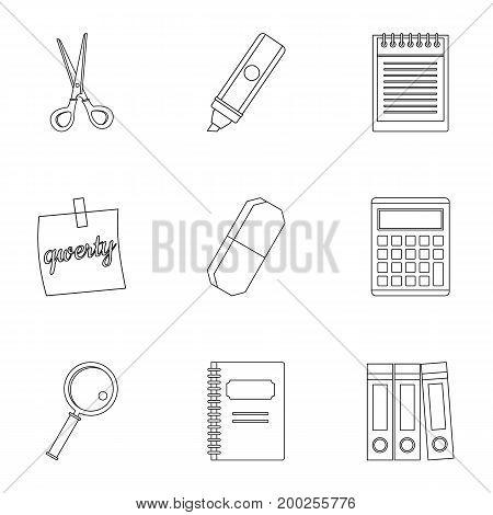 Stationery symbols icon set. Outline style set of 9 stationery symbols vector icons for web isolated on white background
