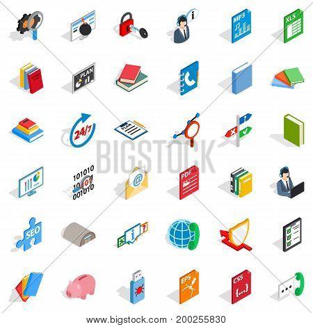 Computer learning icons set. Isometric style of 36 computer learning vector icons for web isolated on white background
