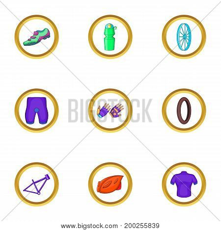 Bike equipment icons set. Cartoon illustration of 9 bike equipment vector icons for web design