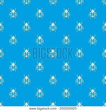 Dung beetle pattern repeat seamless in blue color for any design. Vector geometric illustration