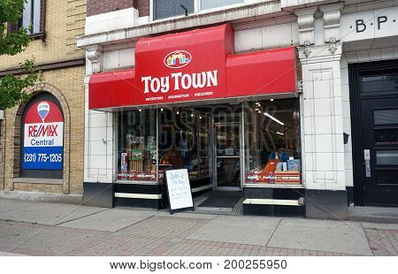 CADILLAC, MICHIGAN / UNITED STATES - MAY 31, 2017:  One may purchase toys at Toy Town, on Mitchell Street in Downtown Cadillac.