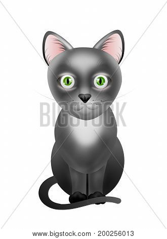 Illustration of cute black cat isolated on white background