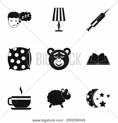 Preparation to sleep icon set. Simple style set of 9 preparation to sleep vector icons for web isolated on white background