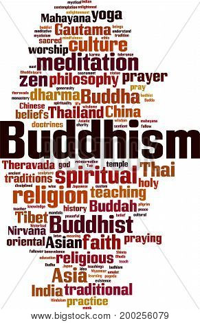 Buddhism word cloud concept. Vector illustration on white